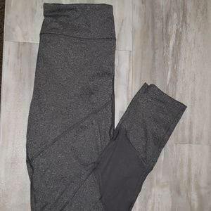 Yoga high rise grey leggings w/ mesh, size large